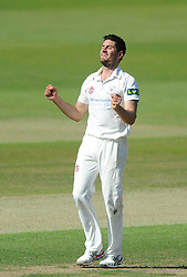 Benny Howell of Gloucestershire celebrates as Jordan Clark is caught out from his bowl by Geraint Jones of Gloucestershire - Photo mandatory by-line: Dougie Allward/JMP - Mobile: 07966 386802 - 07/06/2015 - SPORT - Football - Bristol - County Ground - Gloucestershire Cricket v Lancashire Cricket - LV= County Championship