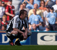 Photo. Glyn Thomas, Digitalsport<br /> NORWAY ONLY<br /> <br /> Manchester City v Newcastle United. <br /> FA Barclaycard Premiership. 01/05/2004.<br /> Newcastle's Andy O'Brien contemplates his side's 1-0 defeat.