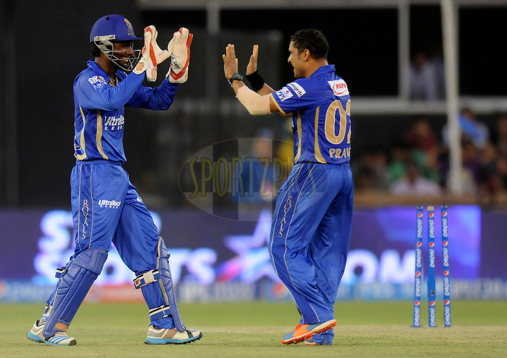 Pravin Tambe of the Rajatshan Royals celebrates the wicket of Manish Pandey of the Kolkata Knight Riders during match 25 of the Pepsi Indian Premier League Season 2014 between the Rajasthan Royals and the Kolkata Knight Riders held at the Sardar Patel Stadium, Ahmedabad, India on the 5th May  2014<br /> <br /> Photo by Pal Pillai / IPL / SPORTZPICS      <br /> <br /> <br /> <br /> Image use subject to terms and conditions which can be found here:  http://sportzpics.photoshelter.com/gallery/Pepsi-IPL-Image-terms-and-conditions/G00004VW1IVJ.gB0/C0000TScjhBM6ikg