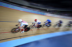 Elinor Barker of Great Britain during the Women's Omnium Tempo Race 2/4 during day two of the Tissot UCI Track Cycling World Cup at Lee Valley VeloPark, London.