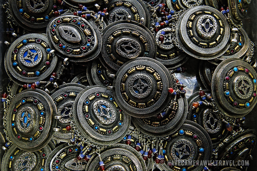 Details of metal jewelry items for sale in one of the stores of Istanbul's historic Grand Bazaar