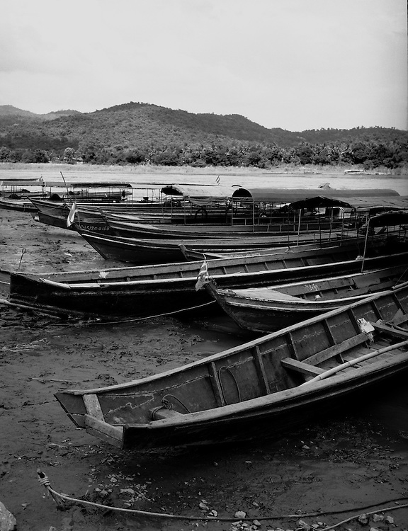 River boats on the shores of the Mekong River