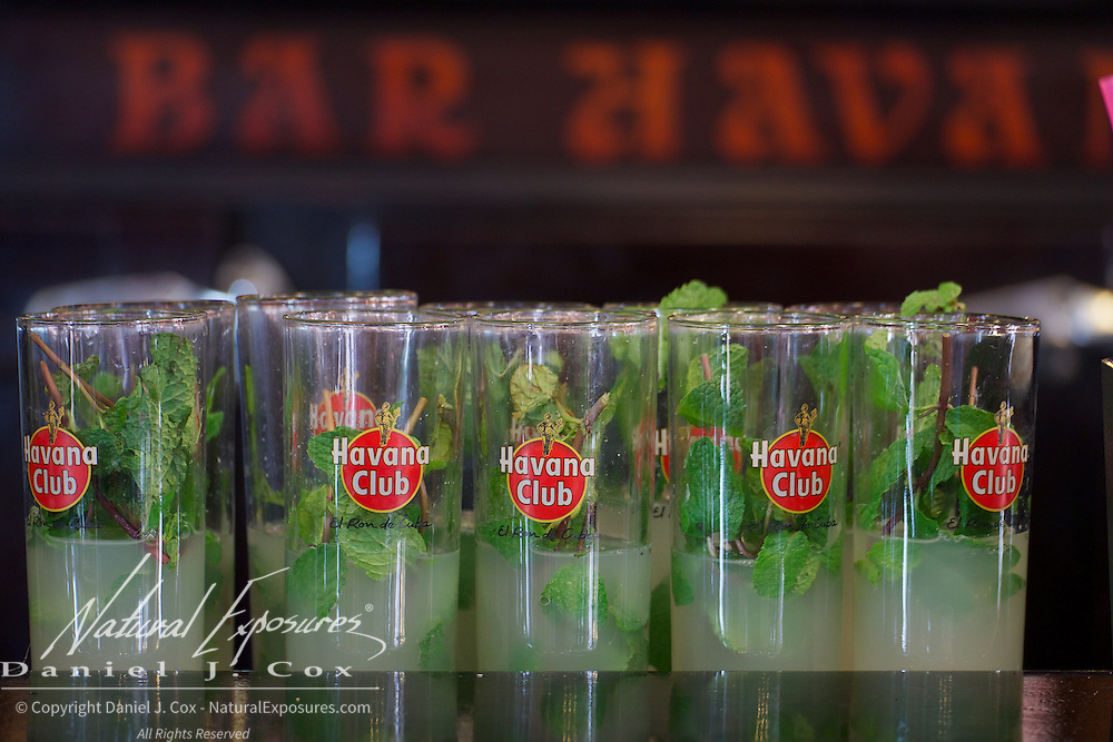 Mojitos ready to be served at the Havana <br /> Club, Cuba.