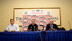 TIRANA, ALBANIA - Monday, November 19, 2018: Wales' manager Ryan Giggs (L) and head of public affairs Ian Gwyn Hughes during a press conference at the Tirana International Hotel ahead of the International Friendly match between Albania and Wales. (Pic by David Rawcliffe/Propaganda)