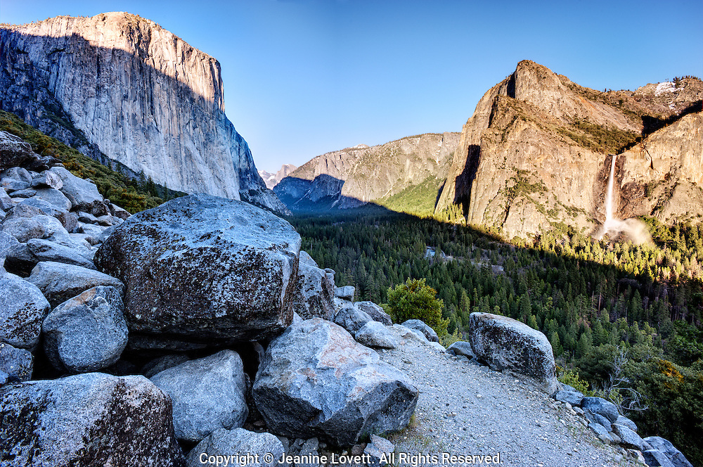View of Yosemite valley,  el capitan, half dome, and bridalveil falls.