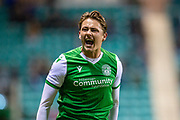 Scott Allan (#23) of Hibernian FC shouts at the assistant referee during the William Hill Scottish Cup fourth round match between Hibernian FC and Dundee United FC at Easter Road Stadium, Edinburgh, Scotland on 28 January 2020.
