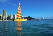 Catamaran, Waikiki Beach, Waikiki, Oahu, Hawaii, USA<br />