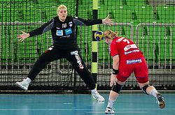 Misa Marincek of SLovenia vs Chrenkova of Czech republic  during handball match between Women National Teams of Slovenia and Czech Republic of 4th Round of EURO 2012 Qualifications, on March 25, 2012, in Arena Stozice, Ljubljana, Slovenia. (Photo by Vid Ponikvar / Sportida.com)