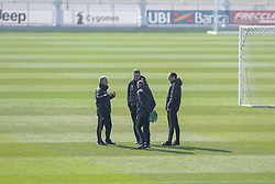 February 19, 2019 - Turin, Piedmont, Italy - Massimiliano Allegri, head coach of Juventus FC (R), speaks with her staffduring the training on the eve of the first leg of eighth of final of UEFA Champions League match between Atletico Madrid and Juventus FC at Juventus Training Center on February 19, 2019 in Turin, Italy. (Credit Image: © Massimiliano Ferraro/NurPhoto via ZUMA Press)