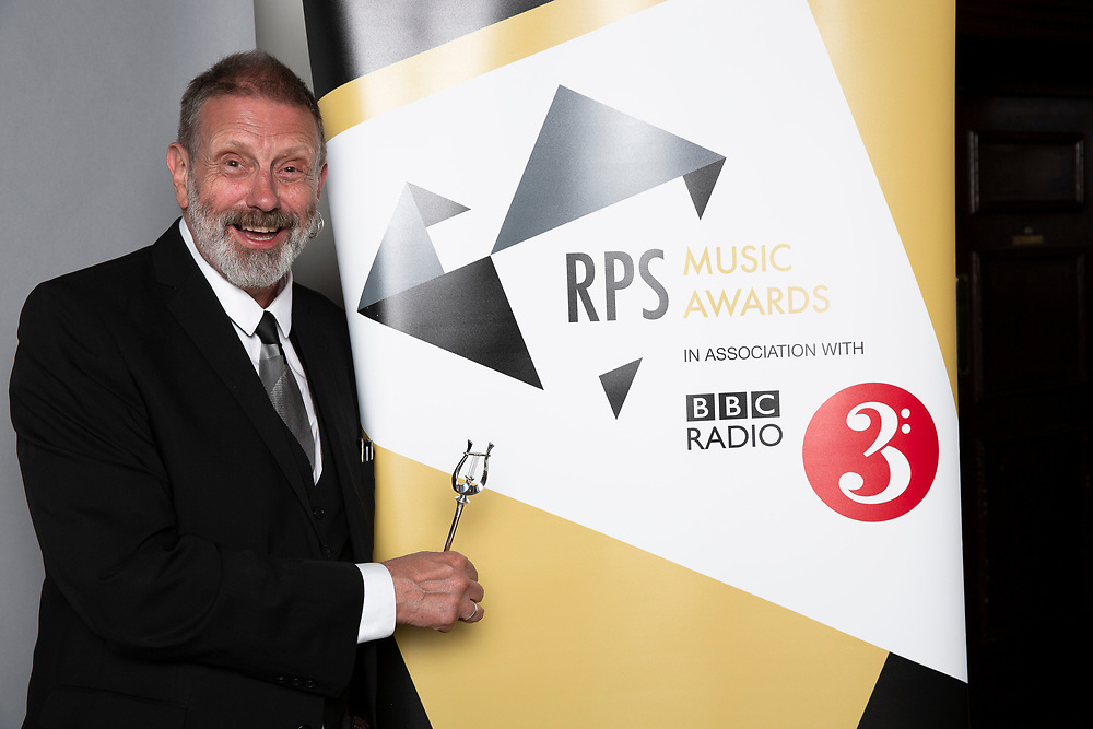 Mike Kenny  from 509 Arts<br /> Winner of the RPS Music Award for Learning and Participation for <br /> Calderland - A People's Opera<br /> Photographed at the RPS Music Awards, London, Wednesday 9 May<br /> Photo credit required:  Simon Jay Price<br /> www.rpsmusicawards.com  #RPSMusicAwards