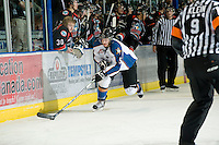 KELOWNA, CANADA, NOVEMBER 25: Jagger Dirk #5 of the Kootenay Ice skates with the puck as the Kootenay Ice visit the Kelowna Rockets  on November 25, 2011 at Prospera Place in Kelowna, British Columbia, Canada (Photo by Marissa Baecker/Shoot the Breeze) *** Local Caption *** Jagger Dirk;