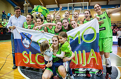 Players of Slovenia celebrate after winning and qualifying during basketball match between Women National Teams of Slovenia and Lithuania in Qualifications of EuroBasket Women 2017, on November 19, 2016 in Gimnazija Celje, Slovenia. Photo by Vid Ponikvar / Sportida
