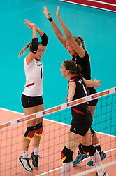 06.09.2013, Gery Weber Stadion, Halle, GER, Volleyball EM 2013, Deutschland vs Spanien, im Bild,, Jubel Lenka Duerr (#1 GER), Corina Ssuschke-Voigt (#9 GER), Maren Brinker (#4 GER) // during the volleyball european championchip match between Germany and Spain at the Gery Weber Stadion in Halle, Germany on 2013/09/06. EXPA Pictures © 2013, PhotoCredit: EXPA/ Eibner/ Kurth<br /> <br /> ***** ATTENTION - OUT OF GER *****