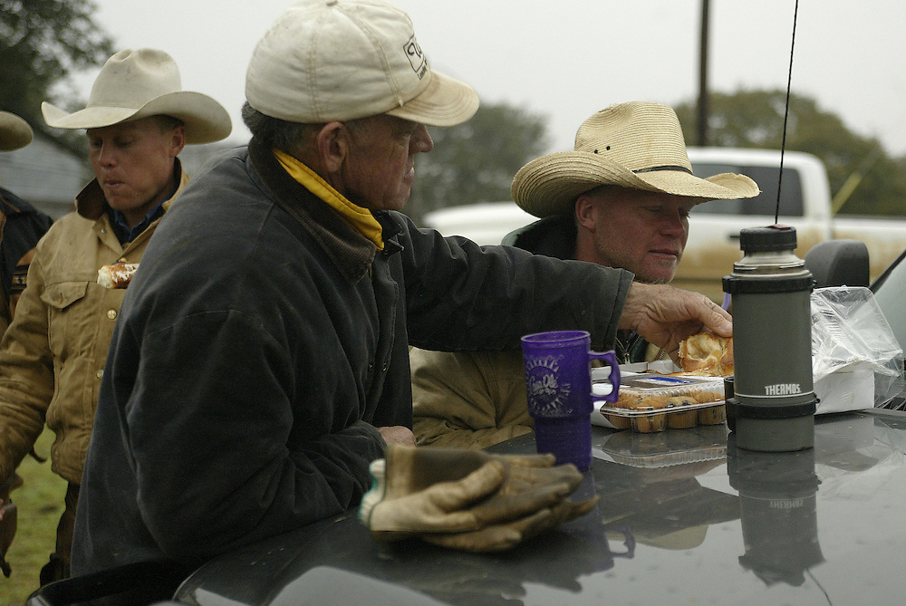 Gary Larremore joins the Perry brothers for breakfast after rounding up the cattle.