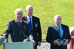 CARDIFF, WALES - Wednesday, September 9, 2009: General Secretary David Collins with President Phil Pritchard and FIFA President Joseph Sepp Blatter at the opening of the Wales national team training pitch ahead of the FIFA World Cup Qualifying Group 3 match against Russia. (Pic by David Rawcliffe/Propaganda)
