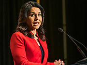 09 JUNE 2019 - CEDAR RAPIDS, IOWA: Congresswoman TULSI GABBARD (D-HI), speaks at the Iowa Democrats 2019 Hall of Fame Celebration in the Cedar Rapids Convention Center. Nineteen of the Democratic candidates for president in 2020 spoke at the annual event. Iowa traditionally hosts the the first election event of the presidential election cycle. The Iowa Caucuses will be on Feb. 3, 2020.                          PHOTO BY JACK KURTZ
