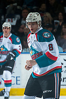 KELOWNA, CANADA - MARCH 24: Jack Cowell #8 of the Kelowna Rockets drops the gloves during first period against the Kamloops Blazers on March 24, 2017 at Prospera Place in Kelowna, British Columbia, Canada.  (Photo by Marissa Baecker/Shoot the Breeze)  *** Local Caption ***