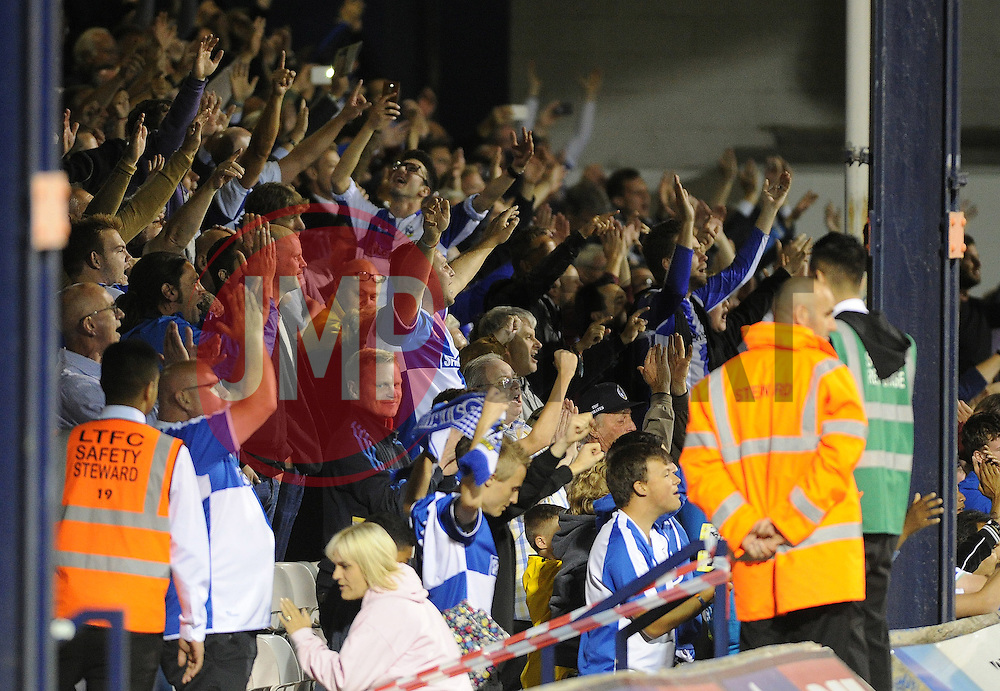 Bristol Rovers fans celebrate  - Mandatory byline: Neil Brookman/JMP - 07966386802 - 18/08/2015 - FOOTBALL - Kenilworth Road -Luton,England - Luton Town v Bristol Rovers - Sky Bet League Two
