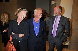 Left to right, SIR TERENCE & LADY CONRAN and SIMON PARKER BOWLES at the opeing of Green's Restaurant & Oyster Bar, 14 Cornhill, London EC3 on 1st September 2009.