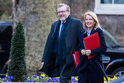 © Licensed to London News Pictures. 27/02/2018. London, UK. Scotland Secretary David Mundell (L) and Secretary of State for Work and Pensions Esther McVey (R) on Downing Street. Photo credit: Rob Pinney/LNP