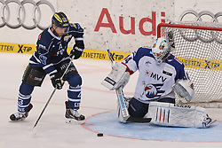 12.04.2015, Saturn Arena, Ingolstadt, GER, DEL, ERC Ingolstadt vs Adler Mannheim, Playoff, Finale, 2. Spiel, im Bild Derek Hahn (Nr.42, ERC Ingolstadt) trifft zum 4:1 // during Germans DEL Icehockey League 2nd final match between ERC Ingolstadt and Adler Mannheim at the Saturn Arena in Ingolstadt, Germany on 2015/04/12. EXPA Pictures © 2015, PhotoCredit: EXPA/ Eibner-Pressefoto/ Strisch<br /> <br /> *****ATTENTION - OUT of GER*****