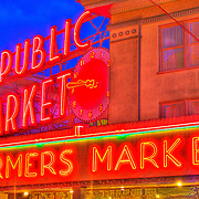 Public Market and clock sign, Pike Place Market, Seattle, Washington