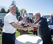 Dundee Sunday FA chairman Alan Ramsay (left) presents Dundee Social's Jimmy Tosh with the Consolation League Cup  - Osnaburg v Dundee Social in Dundee Sunday FA Consolation League Cup Final at Fairfield Park, Dundee, Photo: David Young<br /> <br />  - &copy; David Young - www.davidyoungphoto.co.uk - email: davidyoungphoto@gmail.com
