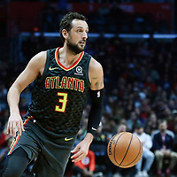 08 January 2018: Atlanta Hawks guard Marco Belinelli (3) is seen during the LA Clippers 108-107 victory over the Atlanta Hawks, at the Staples Center, Los Angeles, California, USA.