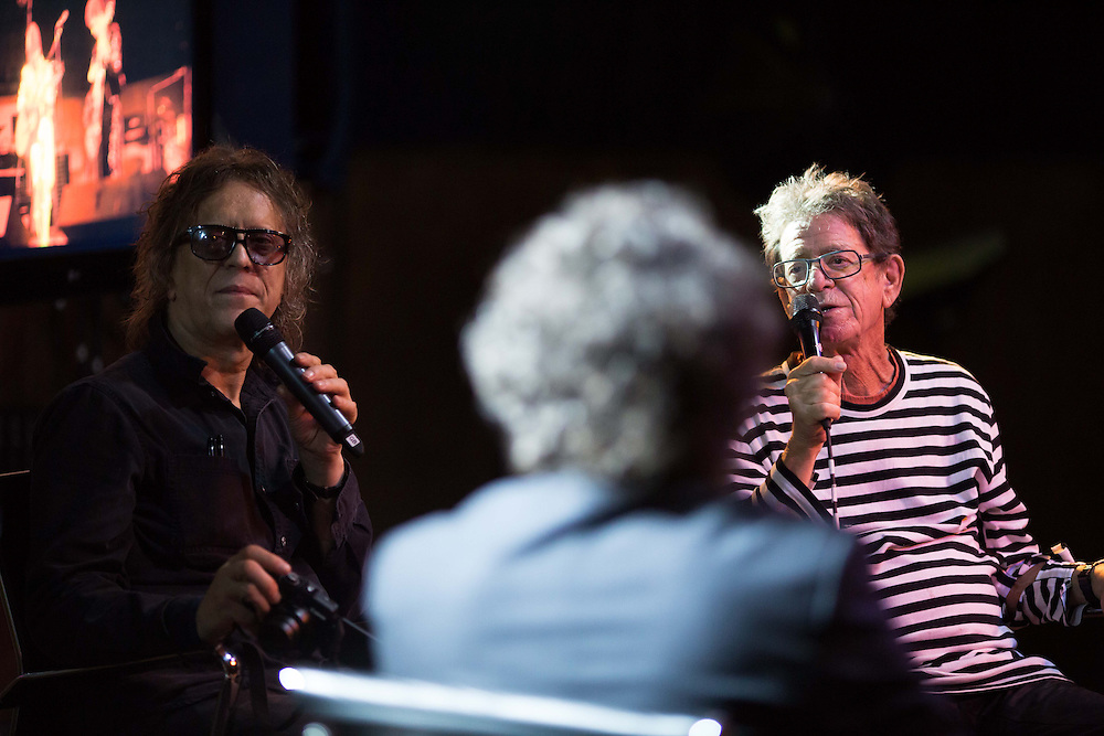 "Lou Reed & Photographer Mick Rock at a Times talk at the Scala in London  for the release of their book ""Transformer"" on September 5,2013."