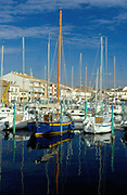 France, Languedoc and Roussillon.  Meze, harbour/marina.
