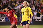 USA forward Carli Lloyd (10) celebrates scoring a goal as Sweden's Magdalena Eriksson (6) reacts during an international friendly women's soccer match, Thursday, Nov. 7, 2019, in Columbus, Ohio. USA defeated Sweden 3-2 . (Jason Whitman/Image of Sport)