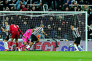 Jose Salomon Rondon (#9) of Newcastle United scores Newcastle United's second goal (2-2) during the Premier League match between Newcastle United and Liverpool at St. James's Park, Newcastle, England on 4 May 2019.