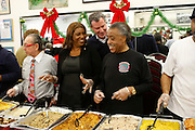New York, NY- December 25- l to r: Attorney Sanford Rubenstein, New York City Councilwoman Leticia James, New York City Public Advocate Bill de Blasio and Rev. Al Sharpton at the Rev. Al Sharpton and National Action Network Feeding of the Hungry on Christmas Day & Toy Giveaway at the Annual NAN Event held at the NAN's House of Justice on December 25, 2011 in Harlem, New York City. Photo Credit: Terrence Jennings