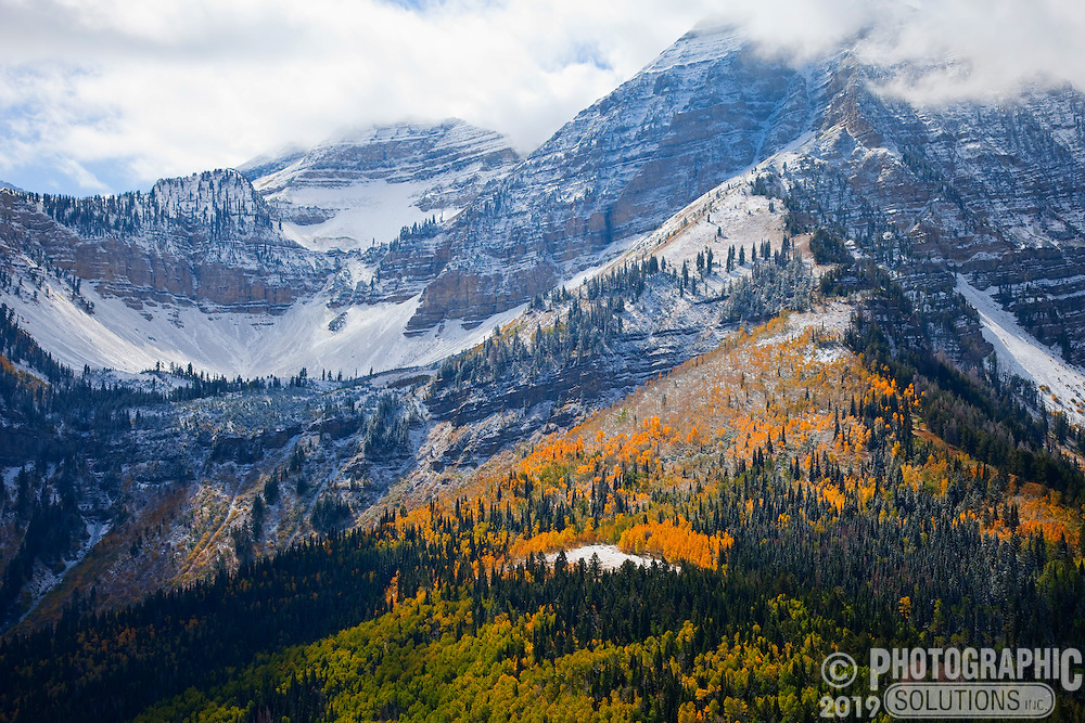 Early snow mixed with fall colors on Mt. Timpanogos