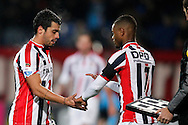 Onderwerp/Subject: Willem II - Eredivisie<br /> Reklame:  <br /> Club/Team/Country: <br /> Seizoen/Season: 2014/2015<br /> FOTO/PHOTO: Bruno ANDRADE ( Bruno Fernandes ANDRADE DE BRITO ) (L) of Willem II is being substituted by Terell ONDAAN (R) of Willem II. (Photo by PICS UNITED)<br /> <br /> Trefwoorden/Keywords: <br /> #20 $64 &plusmn;1401974349562<br /> Photo- &amp; Copyrights &copy; PICS UNITED <br /> P.O. Box 7164 - 5605 BE  EINDHOVEN (THE NETHERLANDS) <br /> Phone +31 (0)40 296 28 00 <br /> Fax +31 (0) 40 248 47 43 <br /> http://www.pics-united.com <br /> e-mail : sales@pics-united.com (If you would like to raise any issues regarding any aspects of products / service of PICS UNITED) or <br /> e-mail : sales@pics-united.com   <br /> <br /> ATTENTIE: <br /> Publicatie ook bij aanbieding door derden is slechts toegestaan na verkregen toestemming van Pics United. <br /> VOLLEDIGE NAAMSVERMELDING IS VERPLICHT! (&copy; PICS UNITED/Naam Fotograaf, zie veld 4 van de bestandsinfo 'credits') <br /> ATTENTION:  <br /> &copy; Pics United. Reproduction/publication of this photo by any parties is only permitted after authorisation is sought and obtained from  PICS UNITED- THE NETHERLANDS