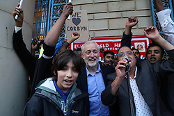 © Licensed to London News Pictures. 19/08/2016. Sheffield, UK. Jeremy Corbyn is mobbed by supporters at a campaign rally in Sheffield, South Yorkshire, during the 2016 Labour leadership election. Photo credit : Ian Hinchliffe/LNP