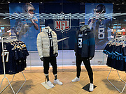Oct 19, 2018; London, United Kingdom; General overall view of display featuring jerseys of Tennessee Titans quarterback Marcus Mariota (8) and Los Angeles Chargers quarterback Philip Rivers (17) at Niketown London.