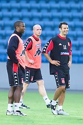 OSLO, NORWAY - Monday, September 3, 2001: Wales'  strike force of Nathan Blake (left), John Hartson (centre) and Ryan Giggs (right) during training at the Ullevaal Stadion in Oslo ahead of his side's FIFA World Cup 2002 Qualifying Group 5 match against Norway. (Pic by David Rawcliffe/Propaganda)