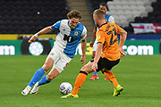 Blackburn Rovers player Sam Gallagher (9) and Hull City player Stephen Kingsley (23) during the EFL Sky Bet Championship match between Hull City and Blackburn Rovers at the KCOM Stadium, Kingston upon Hull, England on 20 August 2019.