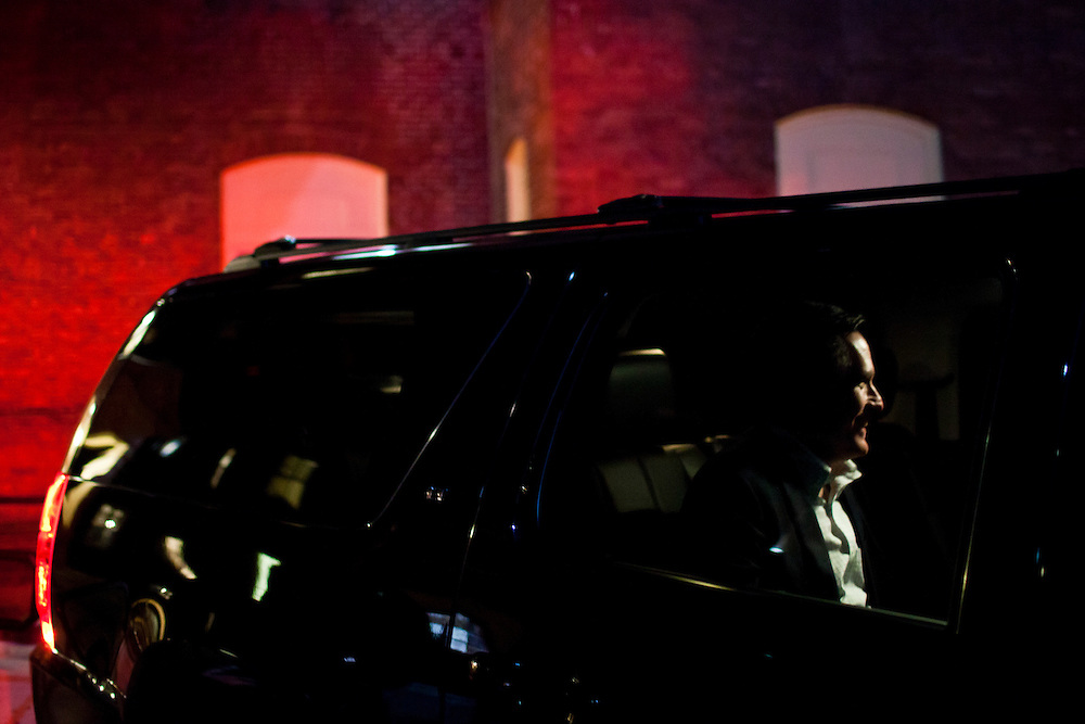 Republican presidential candidate Mitt Romney leaves after hosting a spaghetti dinner on Friday, January 6, 2012 in Tilton, NH.