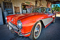ROUTE 66, AZ - JUN 24: Convertible Corvette parked in Hackberry Arizona General Store taken June 24 of 2010. This is a very popular tourist destination.
