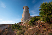 Tower del Gerro in the area of Les Rotes is part of the network of fortifications built along the coast during the 16th century to prevent constant incursions by Berber pirates, Denia, Alicante province, Costa Blanca, Spain
