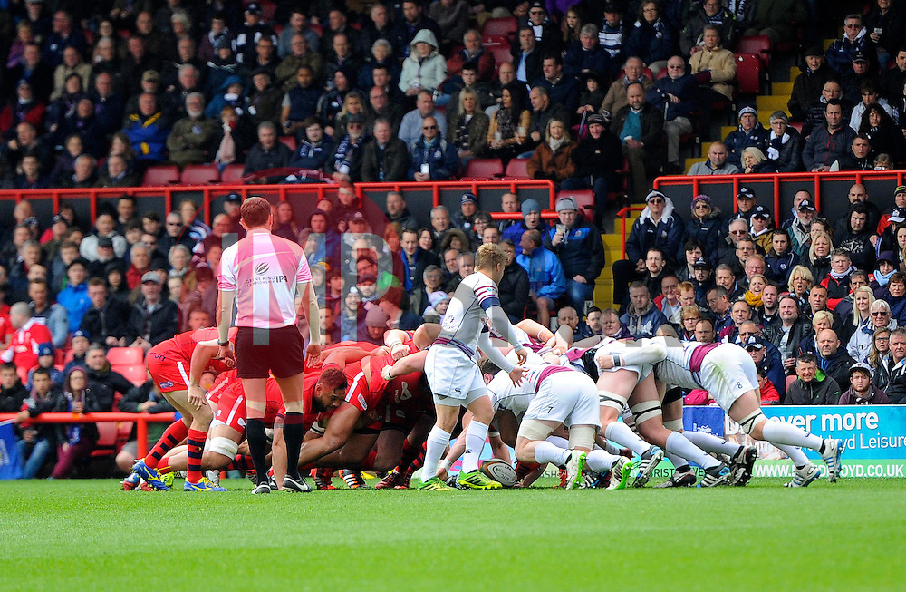 Scrum in front of the Williams stand  - Photo mandatory by-line: Joe Meredith/JMP - Mobile: 07966 386802 - 02/05/2015 - SPORT - Rugby - Bristol - Ashton Gate - Bristol Rugby v Rotherham - Greene King IPA Championship