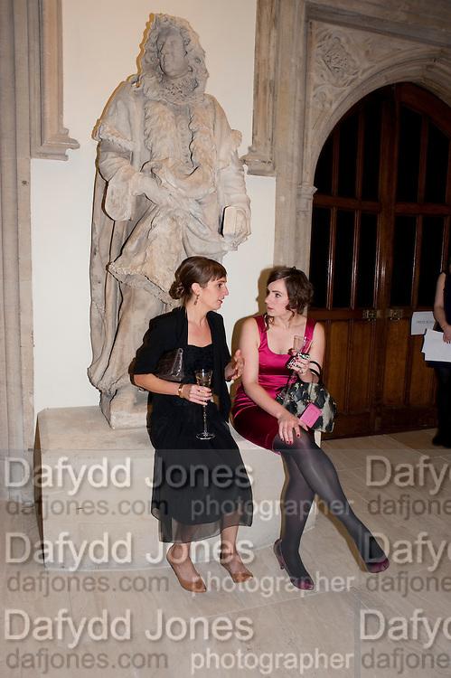 HANNAH WESTLAND; ANNA-MARIE FITZGERALD, Man Booker prize 2011. Guildhall. London. 18 October 2011. <br /> <br />  , -DO NOT ARCHIVE-© Copyright Photograph by Dafydd Jones. 248 Clapham Rd. London SW9 0PZ. Tel 0207 820 0771. www.dafjones.com.