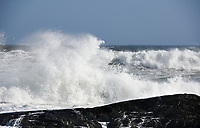 Stormy seas after tropical cyclone passed through Nova Scotia, Cherry Hill  Arties Cove, Nova Scotia, Canada