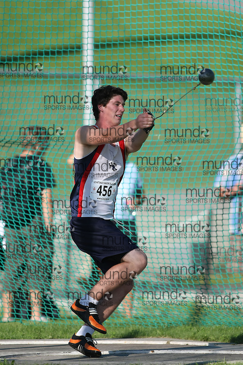 (Sherbrooke, Quebec---10 August 2008) Alex Pilar competing in the hammer throw at the 2008 Canadian National Youth and Royal Canadian Legion Track and Field Championships in Sherbrooke, Quebec. The photograph is copyright Sean Burges/Mundo Sport Images, 2008. More information can be found at www.msievents.com.