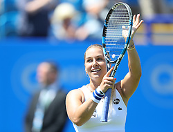 Dominika Cibulkova celebrates after beating Agnieszka Radwanska ( not pictured )  - Mandatory by-line: Paul Terry/JMP - 24/06/2016 - TENNIS - Devonshire Park - Eastbourne, United Kingdom - Agnieszka Radwanska v Dominika Cibulkova - Aegon International Eastbourne