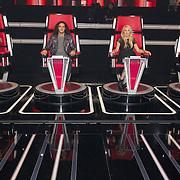 NLD/Hilversum/20151205- Eerste Live uitzending The Voice 2015,Jury bestaande uit Anouk, Ali B, Sanne, en Marco