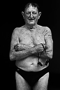 Jack Mathieson aged 91 from Nowra after swimming in the 800 M Freestyle during the Sydney 2009 World Masters Games at Sydney Olympic Park Aquatic Centre on October 10, 2009 in Sydney, Australia. <br /> Commissioned by GETTY IMAGES