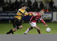 Photo: Barry Bland.<br />Boston United v Swindon Town. The FA Cup. 16/11/2005.<br />Austin McCann and Jack Smith.